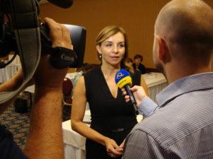 Generální ředitelka ManpowerGroup Jaroslava Rezlerová při rozhovoru